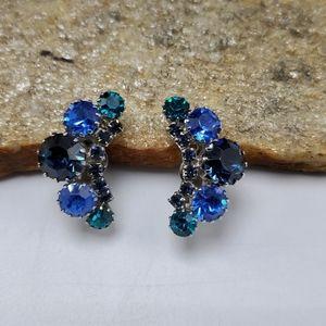 50's Signed Weiss Blue Rhinestone Earrings Clip-on